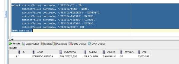 Resultado da tabela INFO_XML (formatado em colunas)